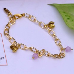 Gold Bracelet With Lavender Beads & Charms