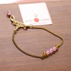 Gold Chain Bracelet With Lavender Agate