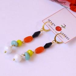 Multicolour Crystal & Agate Earrings