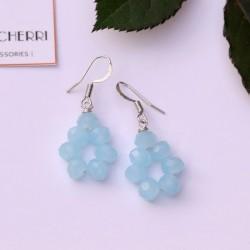 Crystal Sky Blue Cluster Earrings
