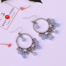 Crystal Blue Round Earrings