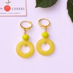 Yellow Round Resin Earrings