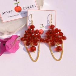 Crystal Red Chandelier Earrings