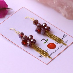 Crystal Wine Earrings with Gold Chain