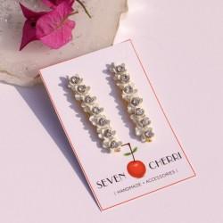 Long White Floral Stud Earrings