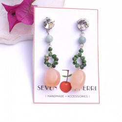 Crystal Stud Earrings with Semiprecious Stones