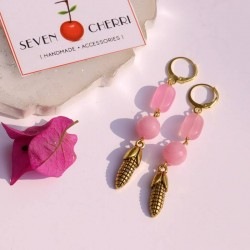 Rose Pink Agate Earrings with Corn Charm