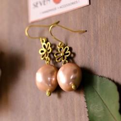 Rose Pink Pearl Charm Earrings