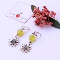 Yellow Agate Flower Pendant Earrings
