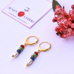 Multicolour Pearl & Crystal Earrings