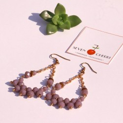 Crystal Lavender Earrings with Gold Chain