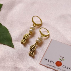 Glass Pearl and Gold Charm Earrings