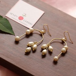 Geometric Pearl Dangler Earrings