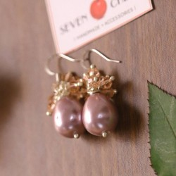Mauve Pearl Cluster Earrings