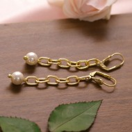 Linked Chain with Glass Pearl Earrings