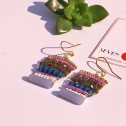 Multicolour Beaded Hook Earrings