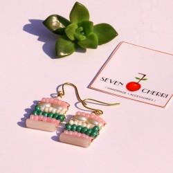 Pink & Turquoise Beaded Earrings