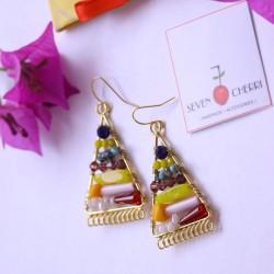 Multicolour Triangle Semi Precious Stone Earrings