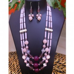 Triple Strand Agate & Crystal Necklace Set