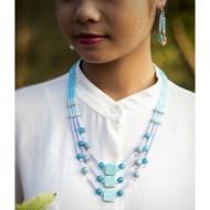 Triple Strand Agate & Crystal Rigitok Necklace Set