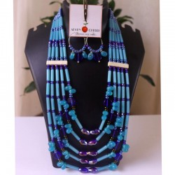 5-Strand Blue Rigitok Necklace Set