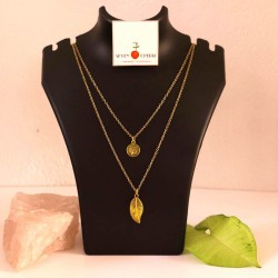 Double Gold Necklace With Charms