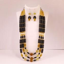 Triple Strand Agate Rigitok Necklace Set