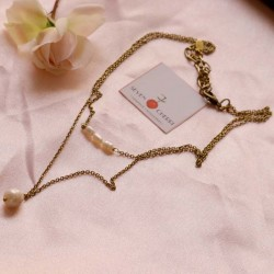 Double Gold Necklace With Freshwater Pearls