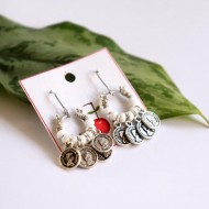 Naderong Coin & White Beads Earrings