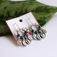 Naderong Coin & Black Beads Earrings