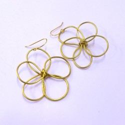 Gold Wire Floral Earrings