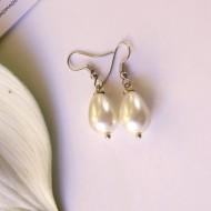 Glass Pearl Hook Earrings